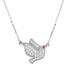 Sterling Silver Rhodium Plated Dove Pedant Necklace with CZ - BGP01271