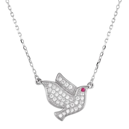 Wholesale Sterling Silver 925 Rhodium Plated Dove Pedant Necklace with CZ - BGP01271