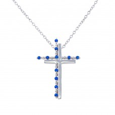 Sterling Silver Rhodium Plated Double Cross Pendant with Blue CZ - BGP01272BLU