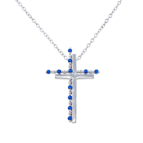 Wholesale Sterling Silver 925 Rhodium Plated Double Cross Pendant with Blue CZ - BGP01272BLU