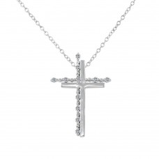 Sterling Silver Rhodium Plated Double Cross Pendant with Clear CZ - BGP01272CLR