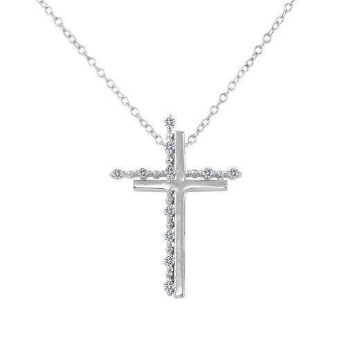 Wholesale Sterling Silver 925 Rhodium Plated Double Cross Pendant with Clear CZ - BGP01272CLR