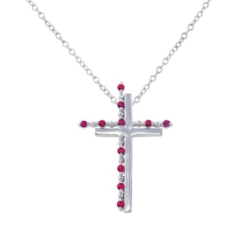 Wholesale Sterling Silver 925 Rhodium Plated Double Cross Pendant with Red CZ - BGP01272GAR