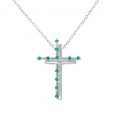Sterling Silver Rhodium Plated Double Cross Pendant with Green CZ - BGP01272GRN