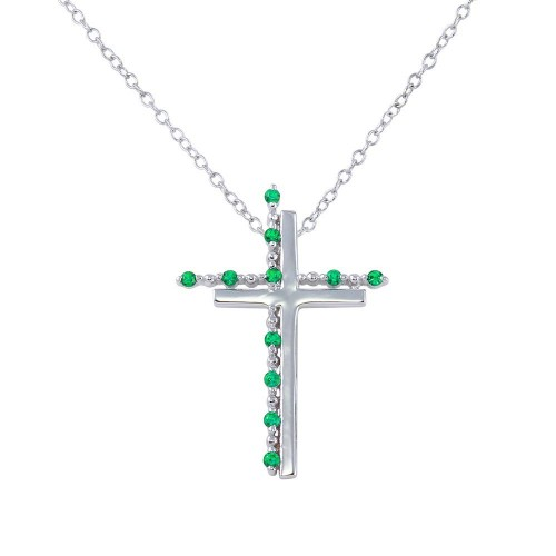 Wholesale Sterling Silver 925 Rhodium Plated Double Cross Pendant with Green CZ - BGP01272GRN