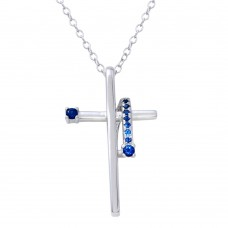 Wholesale Sterling Silver 925 Rhodium Plated Blue CZ Designed Cross Necklace - BGP01273BLU