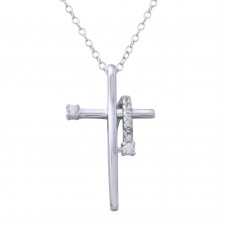 Sterling Silver Rhodium Plated Clear CZ Designed Cross Necklace - BGP01273CLR