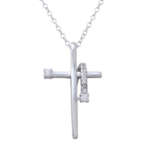 Wholesale Sterling Silver 925 Rhodium Plated Clear CZ Designed Cross Necklace - BGP01273CLR