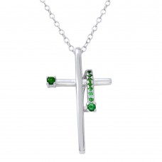Sterling Silver Rhodium Plated Green CZ Designed Cross Necklace - BGP01273GRN