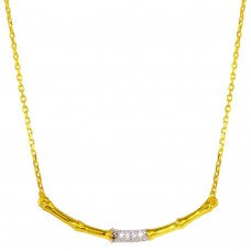 Sterling Silver Gold Plated Bamboo Pendant Necklace with CZ - BGP01276