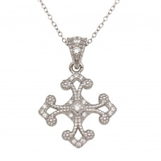 Sterling Silver Rhodium Plated Cross Pendant with CZ - BGP01277