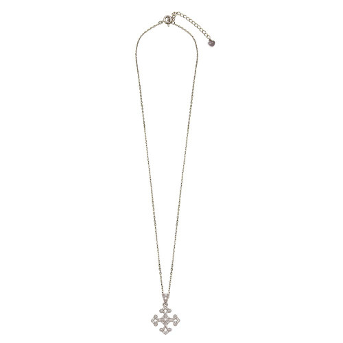 Wholesale Sterling Silver 925 Rhodium Plated Cross Pendant with CZ - BGP01277