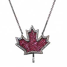 Wholesale Sterling Silver 925 Black Rhodium Plated Maple Leaf Pendant Necklace with CZ - BGP1278BS