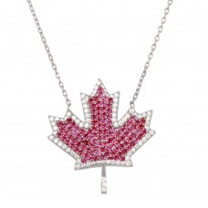 Wholesale Sterling Silver 925 Rhodium Plated Maple Leaf Pendant Necklace with CZ - BGP01278RH