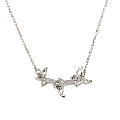 Wholesale Sterling Silver 925 Rhodium Plated 3 Butterfly Pendant Necklace with CZ - BGP01280