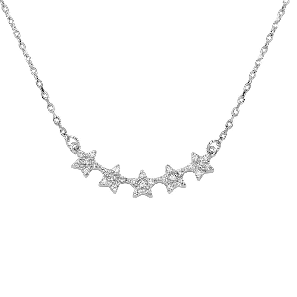 Wholesale Sterling Silver 925 5 Star Curve Necklace with CZ - BGP01281