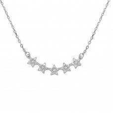 Wholesale Sterling Silver 5 Star Curve Necklace with CZ - BGP01281