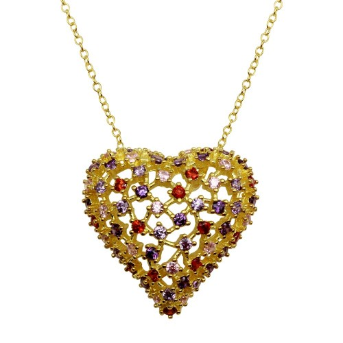 Wholesale Sterling Silver 925 Gold Plated Heart Pendant with Multi-Colored CZ - BGP01282