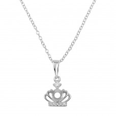 Wholesale Sterling Silver 925 Rhodium Plated Crown Mount Pendant Necklace with CZ - BGP01283