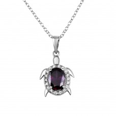 Wholesale Sterling Silver 925 Turtle Pendant Necklace with Purple CZ - BGP01284