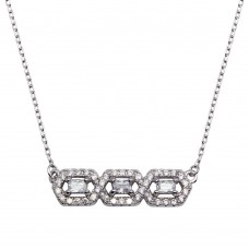 Wholesale Sterling Silver 925 Rhodium Plated Triple CZ Pendant Necklace - BGP01286