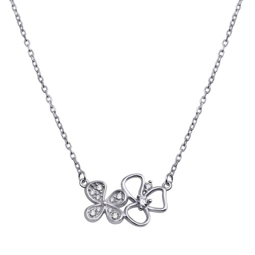 Wholesale Sterling Silver 925 Rhodium Plated Double CZ Flower Necklace - BGP01287