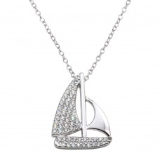 Wholesale Sterling Silver 925 Rhodium Plated CZ Sailboat Necklace - BGP01289