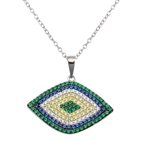 Wholesale Sterling Silver 925 Rhodium Plated Multi Color Evil Eye Necklace - BGP01290