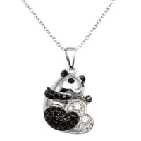 Wholesale Sterling Silver 925 Rhodium Plated Black and Clear CZ Panda Bear Necklace - BGP01291