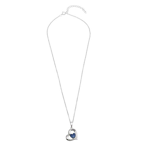 Wholesale Sterling Silver 925 Rhodium Plated Heart Pendant Necklace with Blue CZ - BGP01292BLU
