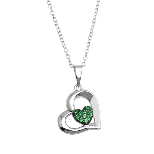 Wholesale Sterling Silver 925 Rhodium Plated Heart Pendant Necklace with Green CZ - BGP01292GRN