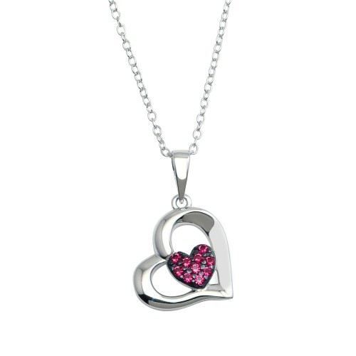 Wholesale Sterling Silver 925 Rhodium Plated Heart Pendant Necklace with Red CZ - BGP01292RED