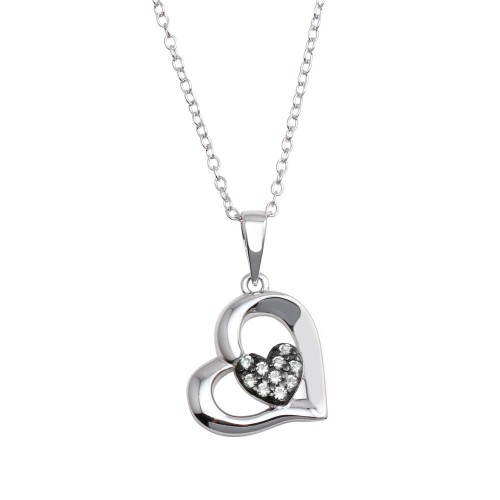 Wholesale Sterling Silver 925 Rhodium Plated Heart Pendant Necklace with CZ - BGP01292CLR