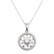 Wholesale Sterling Silver 925 Black Rhodium Plated CZ Halo Star Necklace - BGP01293