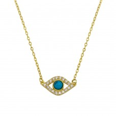 Wholesale Sterling Silver 925 Gold Plated Evil Eye Necklace with CZ - BGP01294