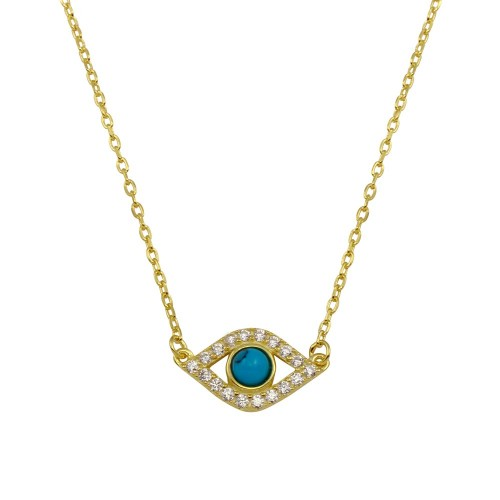Wholesale Sterling Silver 925 Gold Plated Evil Eye Necklace with CZ - BGP01294GP