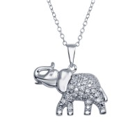 Wholesale Sterling Silver 925 Rhodium Plated Elephant Pendant Necklace with CZ - BGP01295