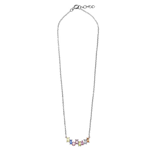 Wholesale Sterling Silver 925 Rhodium Plated Colored CZ Stone Necklace - BGP01297