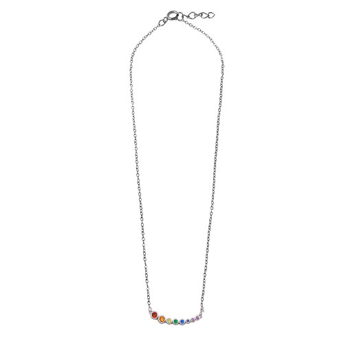 Wholesale Sterling Silver 925 Rhodium Plated Multi-Colored Graduated CZ Necklace - BGP01298