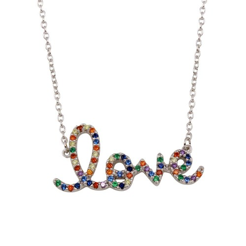"""Wholesale Sterling Silver 925 Rhodium Plated """"Love"""" Word Necklace with Rainbow CZ - BGP01299"""