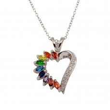 Wholesale Sterling Silver 925 Rhodium Plated Open Heart Pendant with Rainbow CZ - BGP01300