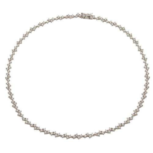 Wholesale Sterling Silver 925 Rhodium Plated Zig Zag CZ Tennis Necklace - BGP01301