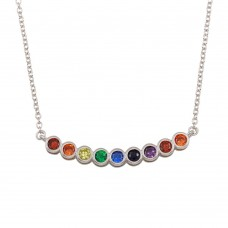 Wholesale Sterling Silver 925 Rhodium Plated Rainbow CZ Pendant Necklace - BGP01302