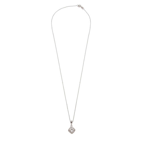Wholesale Sterling Silver 925 Rhodium Plated Clear Round CZ Pendant - BGP01303