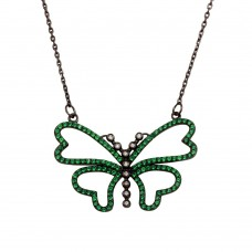 Wholesale Sterling Silver 925 Black Rhodium Plated Green CZ Butterfly Pendant Necklace - BGP01304