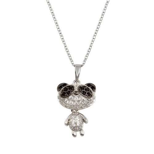 Wholesale Sterling Silver 925 Rhodium Plated Panda Pendant Necklace with CZ - BGP01305