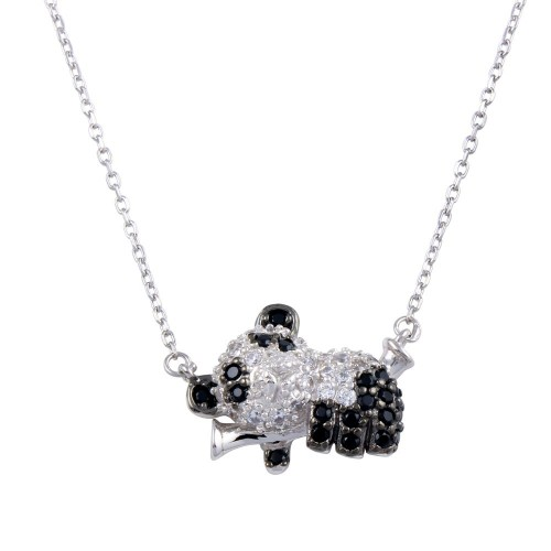 Wholesale Sterling Silver 925 Rhodium Plated CZ Panda Necklace - BGP01306