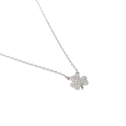 Wholesale Sterling Silver 925 Rhodium Plated 925 Clover Necklace CZ Necklace - BGP01307