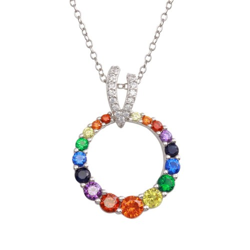 Wholesale Sterling Silver 925 Rhodium Plated Open Round Rainbow CZ Pendant Necklace - BGP01308