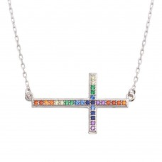 Wholesale Sterling Silver 925 Rhodium Plated Sideways Cross Pendant with Multi-Colored CZ - BGP01309